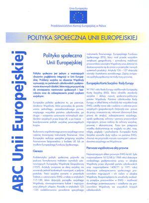Polityka społeczna Unii Europejskiej - fact sheet dla Przedstawicielstwa Komisji Europejskiej wPolsce
