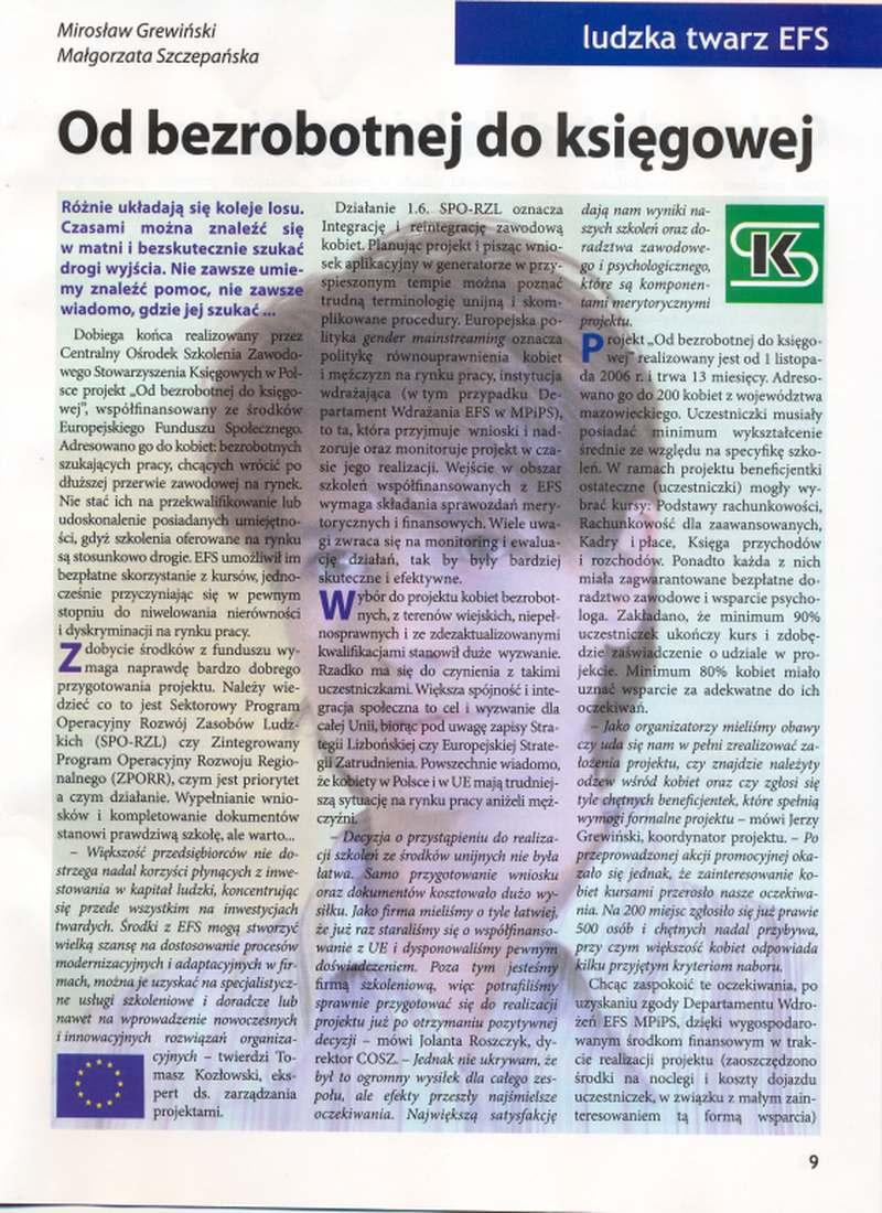 Od bezrobotnej doksięgowej w: Świat Księgowych 3/2007.